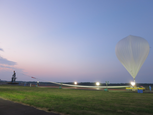 大気球へのヘリウムガス充填完了
